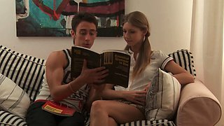 Ambitious barely legal redhead Anjelica blows prick