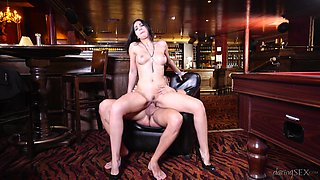 Brunette babe gets her pussy demolished on the pool table