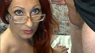 Wondrous nerdy brunette MILF greedily sucked my lollicock