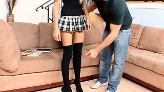 Old Teacher Seduce Skinny College Girl with Glasses to Fuck