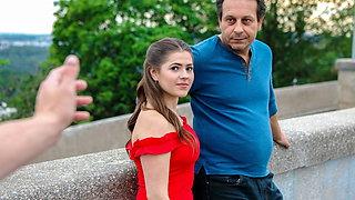 HUNT4K. Prague girl in beautiful red dress takes it off