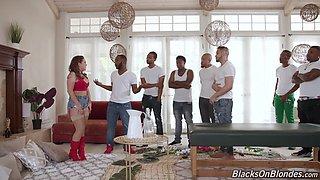 Trimmed pussy pornstar Carmen Valentina gets fucked by lot of black guys