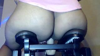 Bunni Buns glides on her Love Glider Sex machine