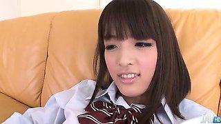Rin Yuzuki  in a school uniform shows off her shaved twat