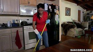 Hot Latina maid Jasmine Caro gives head and gets fucked from behind
