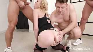 Blonde Bombshell Rebecca Shows Why Her Holes are Bottomless