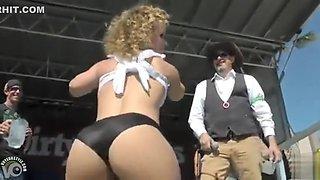Big ass midget cutie dances on stage